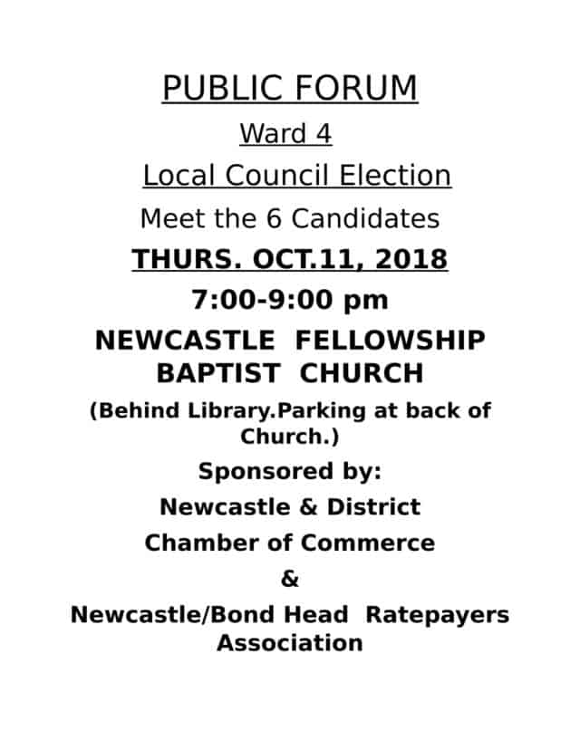 PUBLIC FORUM – Ward 4 – Local Council Election – Meet the 6 Candidates