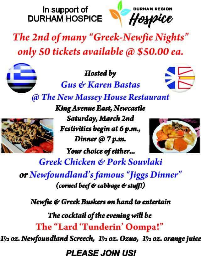 Durham Hospice – Greek Newfie Night Fundraiser at Massey House Restaurant