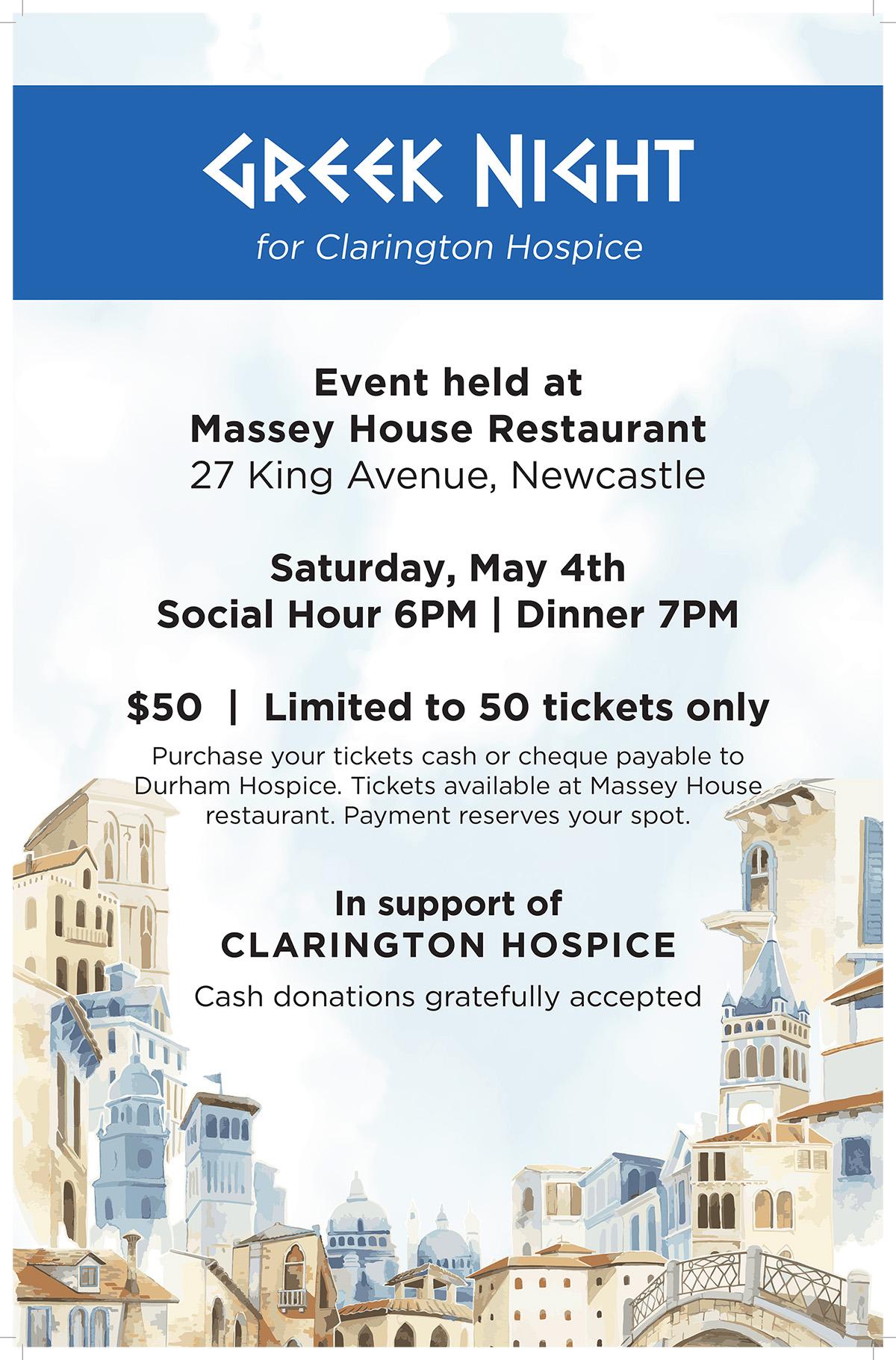 Greek Night for Clarington Hospice – Massey House Restaurant